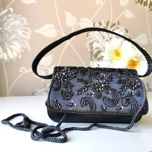 Snap closure party purse in gray with embroidery
